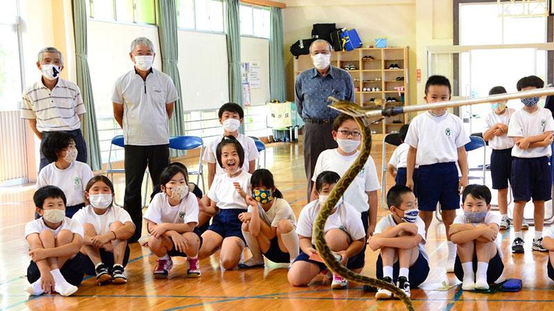 南海日日新聞〔写真〕ハブを観察する児童ら=25日、緑が丘小学校