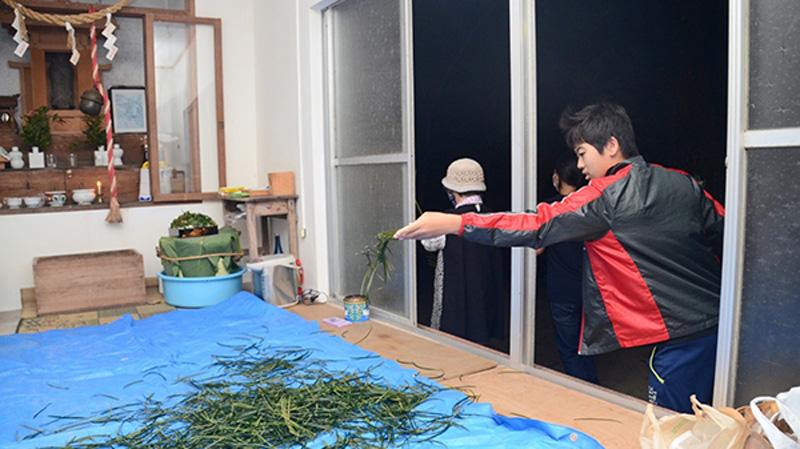 南海日日新聞〔写真〕無病息災を祈り、「ヒヨヒヨ~」と言いながらソテツの葉をちぎって投げる「ヒヨヒヨ」=23日、瀬戸内町清水の厳島神社